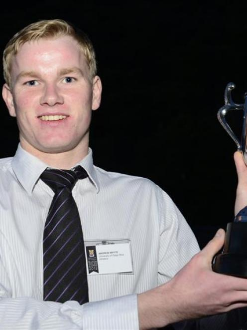 Andrew Whyte, who won the Otago University sportsman of the year award  on Thursday. Photo by...