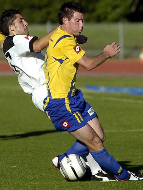 Andy Coburn, pictured playing for Otago United against Wellington at the Caledonian last season,...