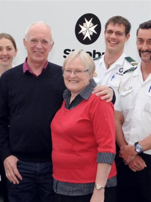 Ann and John Allen (centre) say thank you to the St John staff who saved her life (from left)...