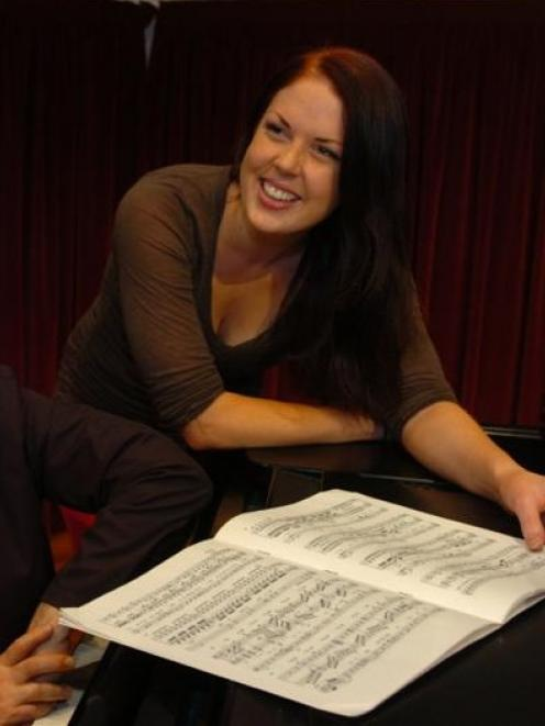 Anna Leese looks over the score of Beethoven's Ah! Perfido during a rehearsal in Marama Hall...