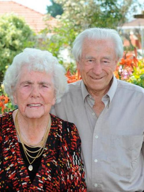 Anne and Norman Rowlands celebrate their platinum wedding anniversary in the garden of  their...