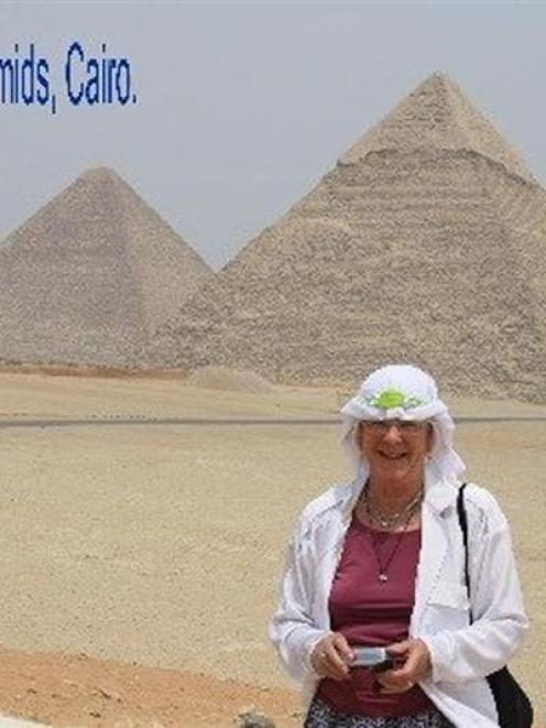 Annetty Lastovicka by the Great Pyramids. Photo by Morgan Hewland.