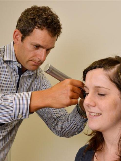 Anthony Rowcroft checks Shannon King's hearing at Bay Audiology, in Dunedin. Photo by Gerard O...