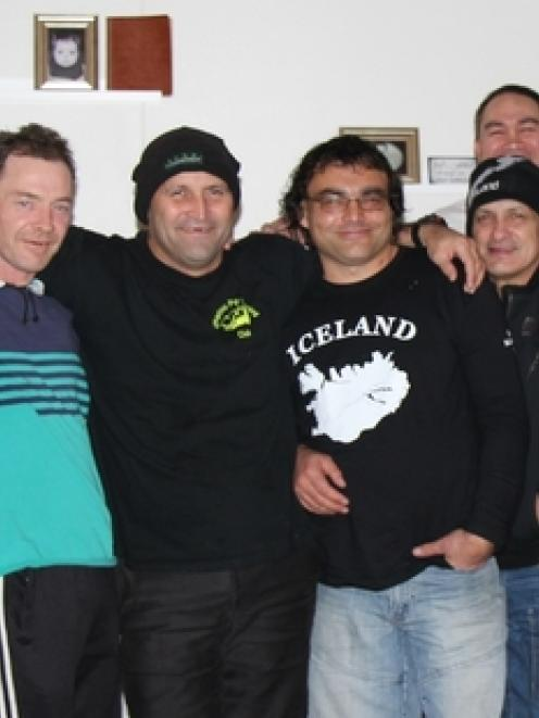 Anthony Russell (fourth from left) says his fellow meat workers (from left) Victor Te Paea, Ross...