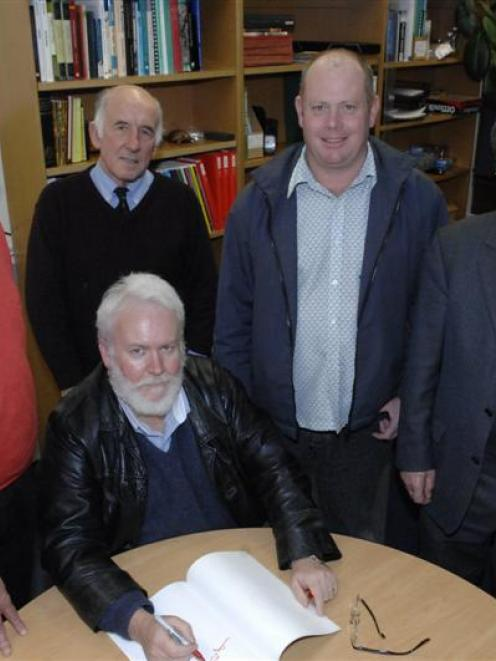 Prof Timothy Darvill (left), with University of Otago archaeologists Prof Glenn Summerhayes ...