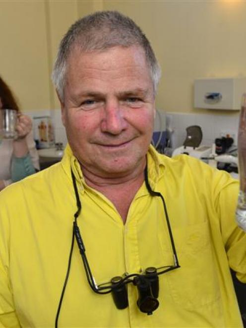 Anti-fluoridation campaigner Green Island dentist Russel McLean, with assistant Linda Howard and...