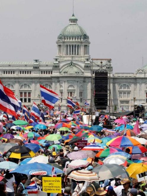 Anti-government protesters rally at the Royal Plaza near Government House in Bangkok. REUTERS...