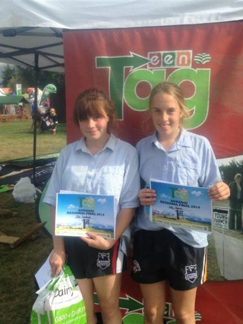 Aorangi TeenAg competition winners Ella Sanderson (left) and Holly Malcolm, of St Kevin's College...