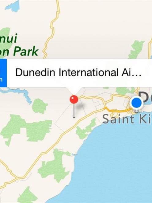 Apple Maps correctly places Dunedin International Airport in  the Taieri area. Graphic by Apple.