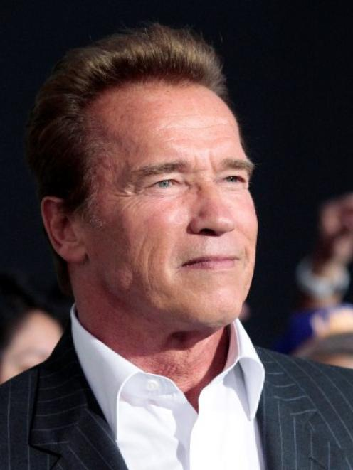 Arnold Schwarzenegger poses at the premiere of 'The Expendables 2' at the Grauman's Chinese...