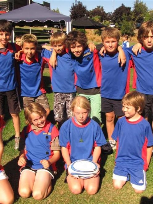 Arrowtown four team (back, from left) Patrick Sanford (10), Xavier Sadler (9), Hayden Roche (10),...