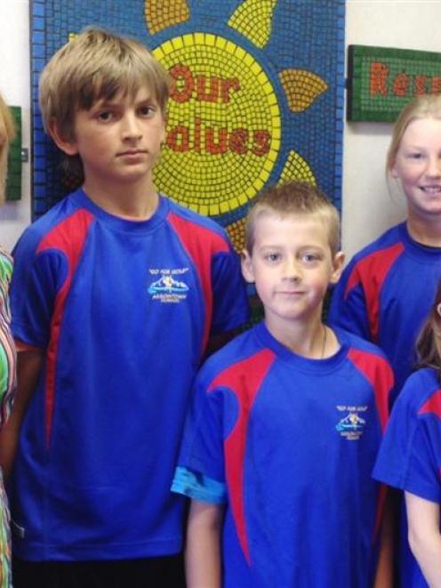 Arrowtown Primary School teacher Janey Winders with pupils (from left) Ben Kunath, Sam Clark,...