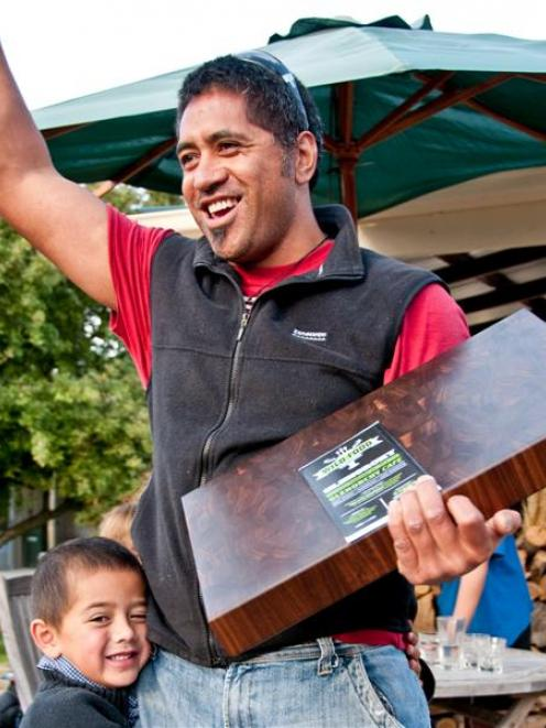 Arrowtown's Shaun Fa'Amalepe with his son, Lennox (then aged 5) after winning the inaugural...