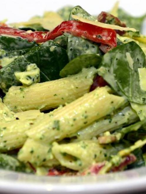 Arthur Barnett Cafe's pasta salad. Photo by Peter McIntosh.