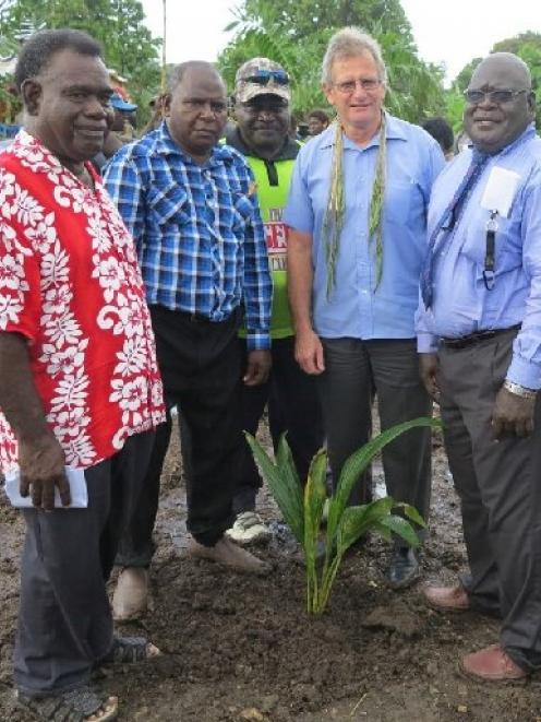 At a ground-breaking ceremony for Bougainville Polytechnic College are (from left)  Bougainville...