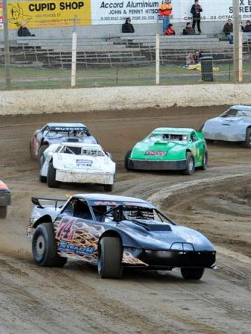 Auckland driver Scott Lansdowne leads the way in  the first heat of South Island Speedweek at...