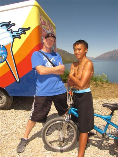 Auckland film-maker Tim McLachlan and actor James Rolleston (12), of Bay of Plenty, filming...