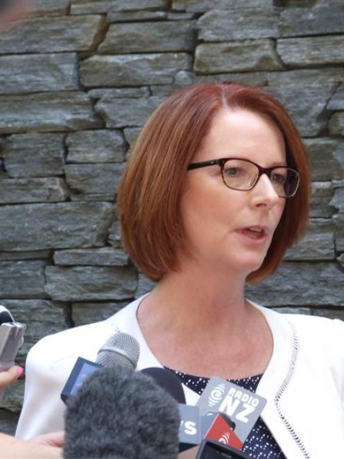 Australian Prime Minister Julia Gillard fronts a large media contingent at the Hilton Queenstown...