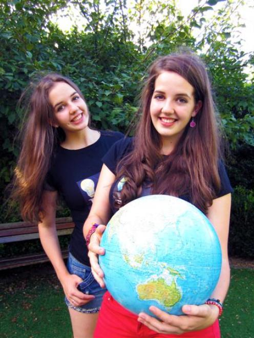 Australian twins Imogen and Freya (holding globe) Wadlow will be attending the Stratosphere...