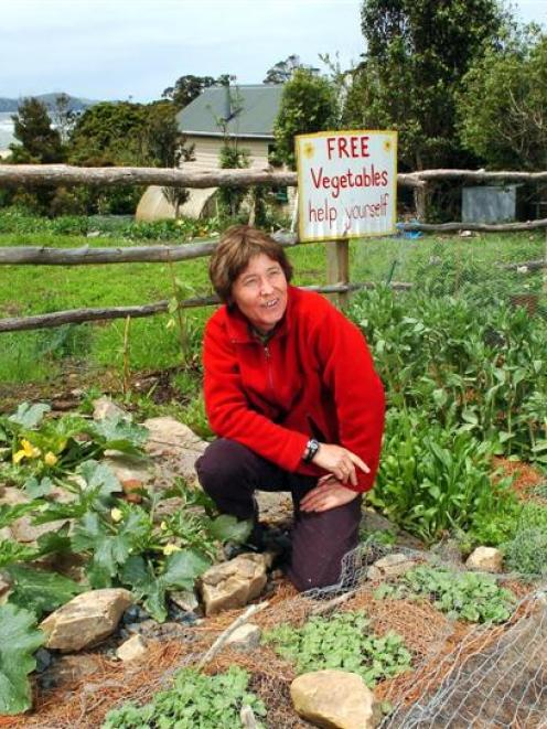 Author and gardening enthusiast Diana Noonan in her Papatowai road-side garden plot, which offers...