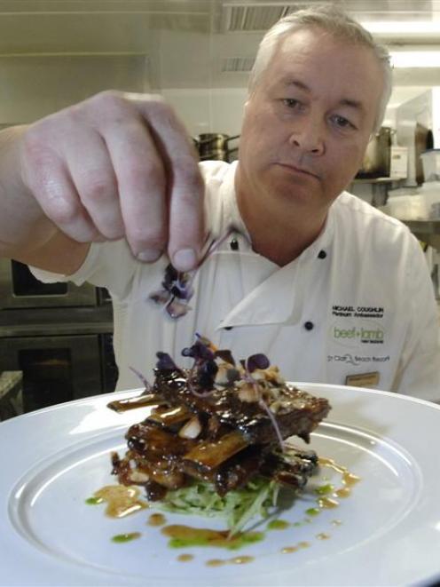 Award-winning chef Michael Coughlin adds a garnish to his Silere Alpine Origin Merino spare ribs...