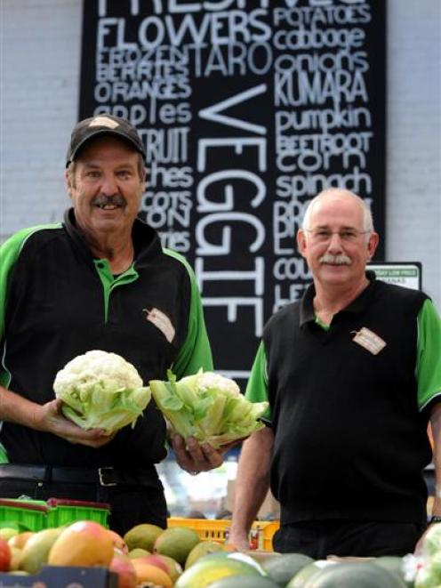 Barry Gazeley (left) and Marty Hay in their Dunedin produce store. Photo by Peter McIntosh.