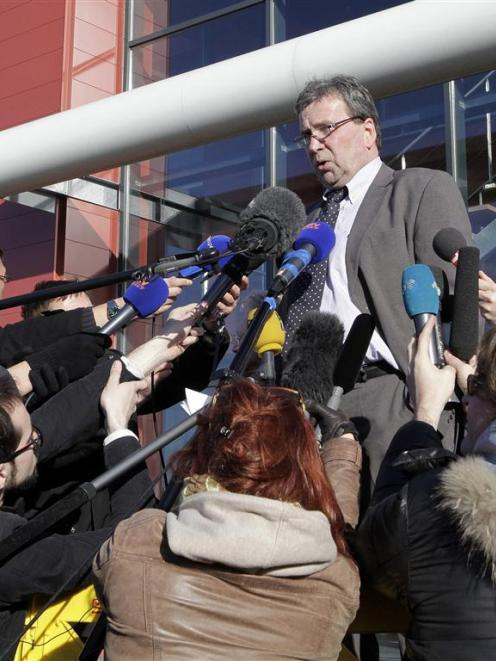 Barthelemy Aguerre, the president of French meat processor Spanghero, speaks to the media outside...