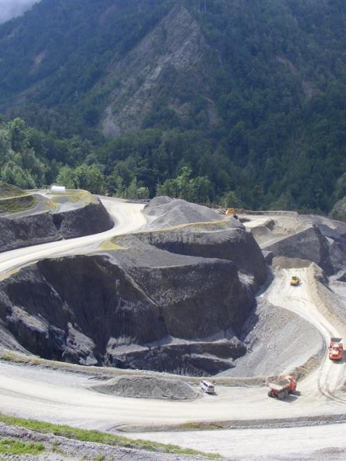 Bathurst Resources' Cascade mine operation on the Denniston plateau at an early stage of...