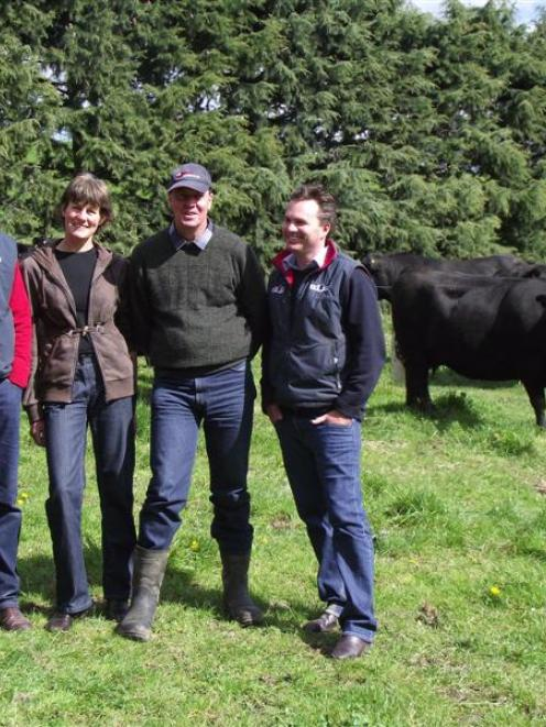 Beef genetics technologies experts Andrew Byrne (left) and Christian Duff (far right), from...