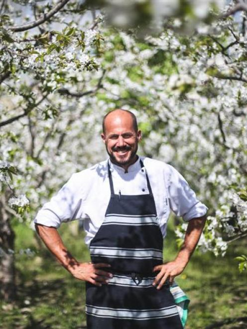 Bevan Smith in the orchard by his Oamaru restaurant Riverstone Kitchen. PHOTO: REBECCA RYAN