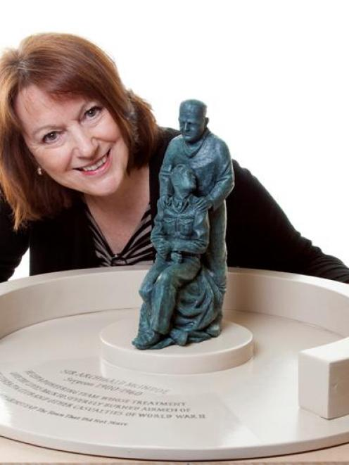 Blond McIndoe Research Foundation chief executive Jacquie Pinney with the design of a statue to...