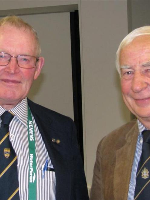 Bob Engelbrecht (left) and Grant McFadden catch up at the recent IrrigationNZ conference in...