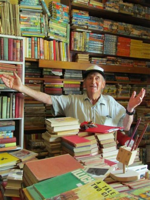 Bob Watherston, from Kurow, tries to organise the extensive Kurow book collection. Photo by...