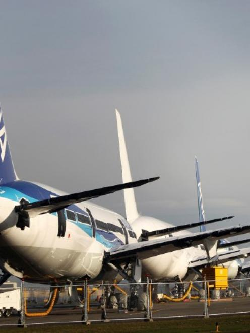 Boeing 787 Dreamliner jets sit idle on the tarmac at Paine Field in Everett, Washington. REUTERS...