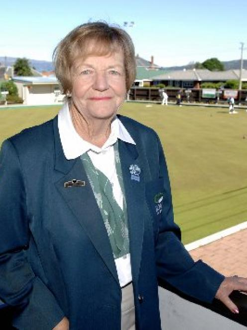 Bowls NZ president Coral Wing at the Taieri headquarters green at Mosgiel. Photo by Linda Robertson.