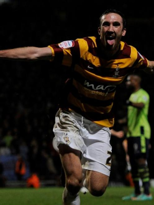 Bradford City's Rory McArdle celebrates after scoring against Aston Villa during their English...