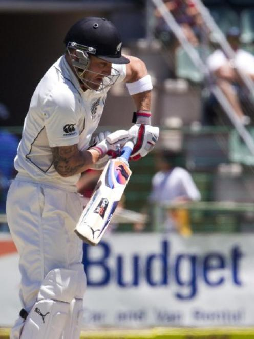 Brendon McCullum plays a shot on day three of the second test against South Africa in Port...