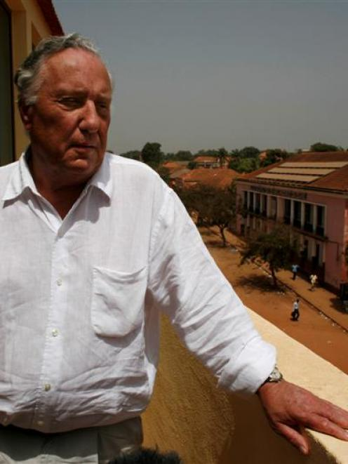British author Frederick Forsyth, 70, speaks to journalists on a hotel balcony overlooking...