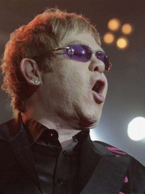 British singer Elton John performs on stage in Riga, Latvia earlier this month. Photo by Reuters.