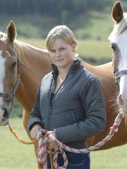 Brittany Whelan (17) with her horses, Repias Super Blond (left) and Kabo So Far, at her Brighton...