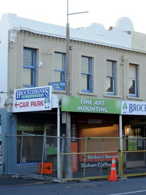 Brocklebank Dry Cleaners building in King Edward St, South Dunedin. Photo by Peter McIntosh.