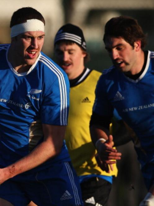 Brodie Retallick of the All Blacks runs through drills during a training session. Much of the...