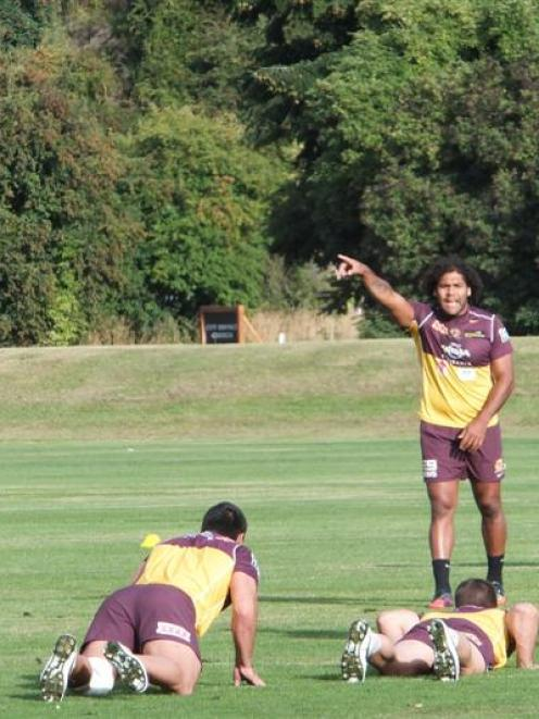 Broncos captain Sam Thaiday directs his team-mates at a training session in Queenstown. Photo by...
