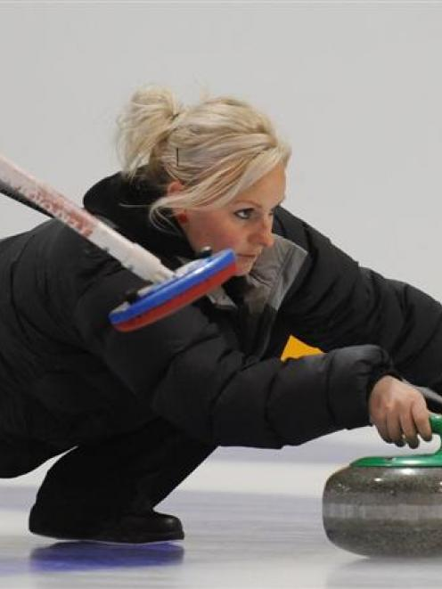 Brydie Donald in action for the New Zealand women's team in the Wendorf Rock Bonspiel at the...