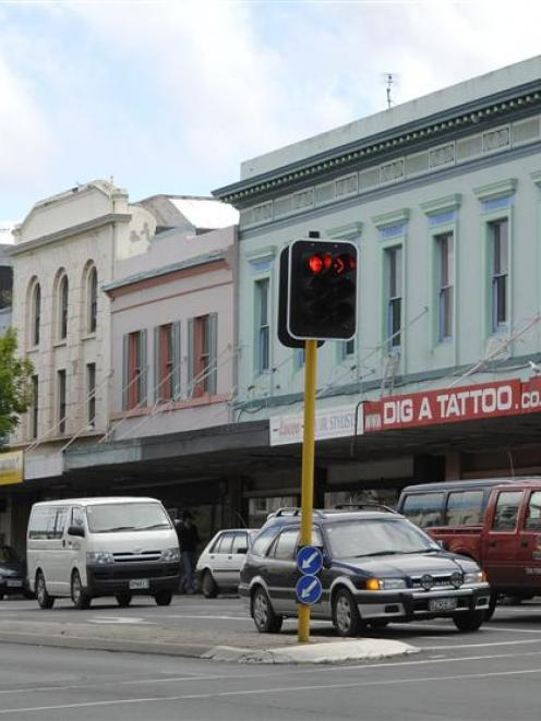 Buildings in Princes St, Dunedin, near the intersection with Stafford St. Photo by Linda Robertson.