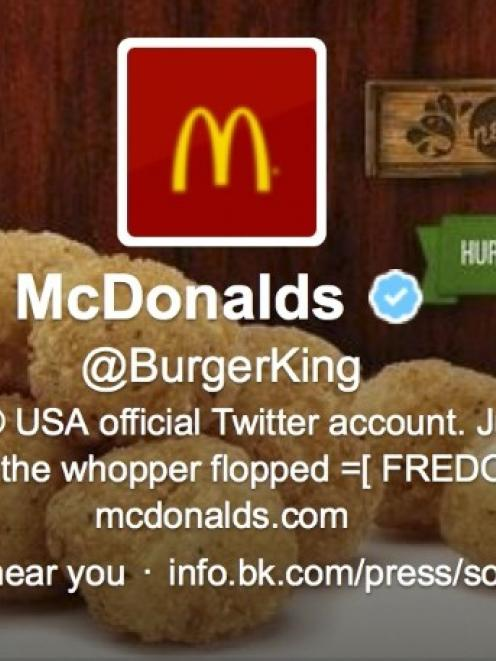 Burger King's Twitter account shows hacking activity in this screen grab before the account was...