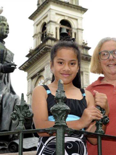 Burns poetry competition winners Molly Saula Ahokovi (9) and Lynne Hill, both of Dunedin, in the...