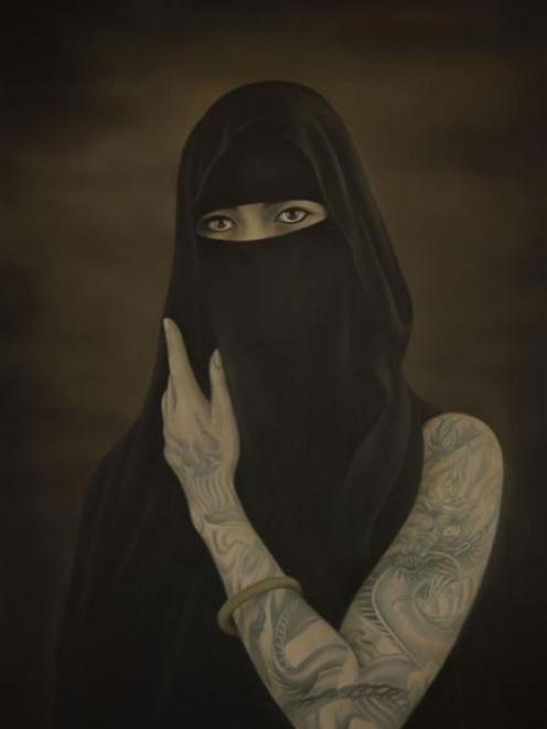"BurqaBabe (2012) is one of nine oil on board paintings in the forthcoming ""Heather Straka:..."