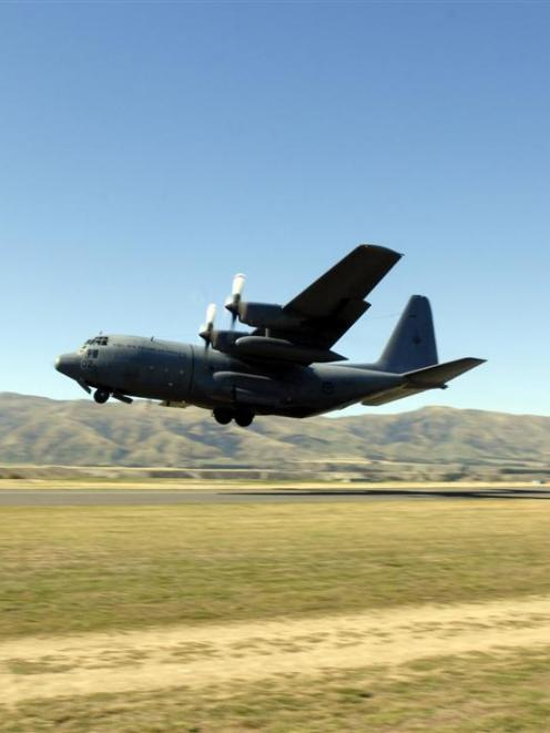 C130 Hercules takes off during Warbirds over Wanaka. Photo by ODT.