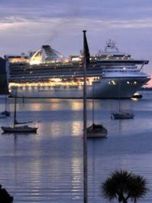 Calmer conditions allowed Golden Princess to visit Dunedin last month. Photo ODT
